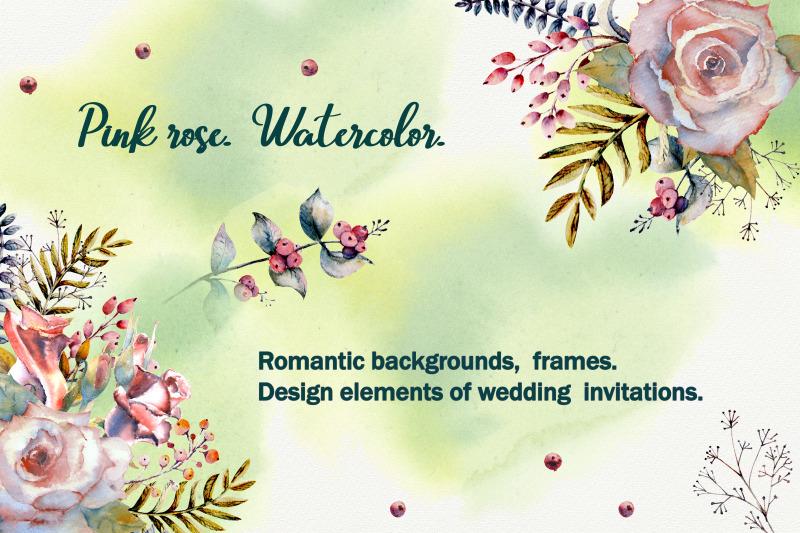 pink-rose-romantic-handmade-frames-watercolor