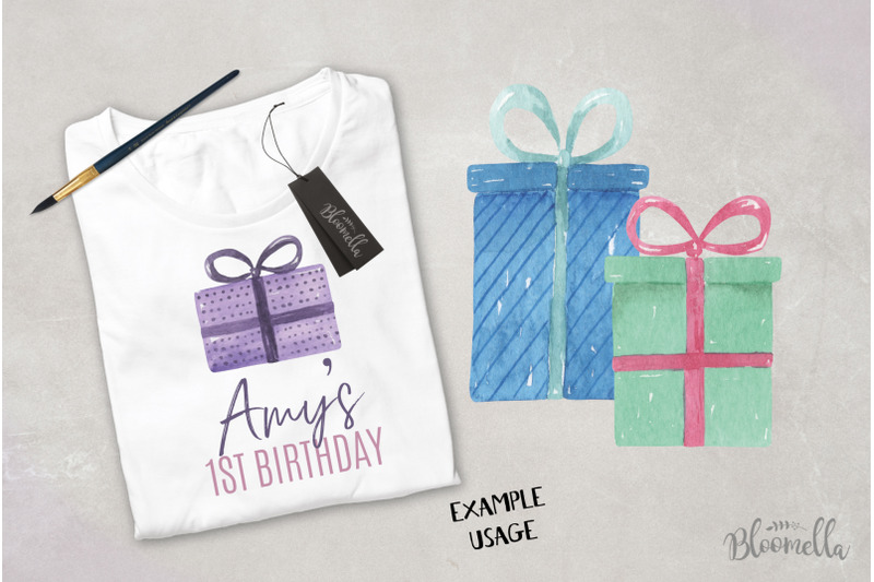 watercolor-presents-gifts-clipart-elements-tags-banners-bows