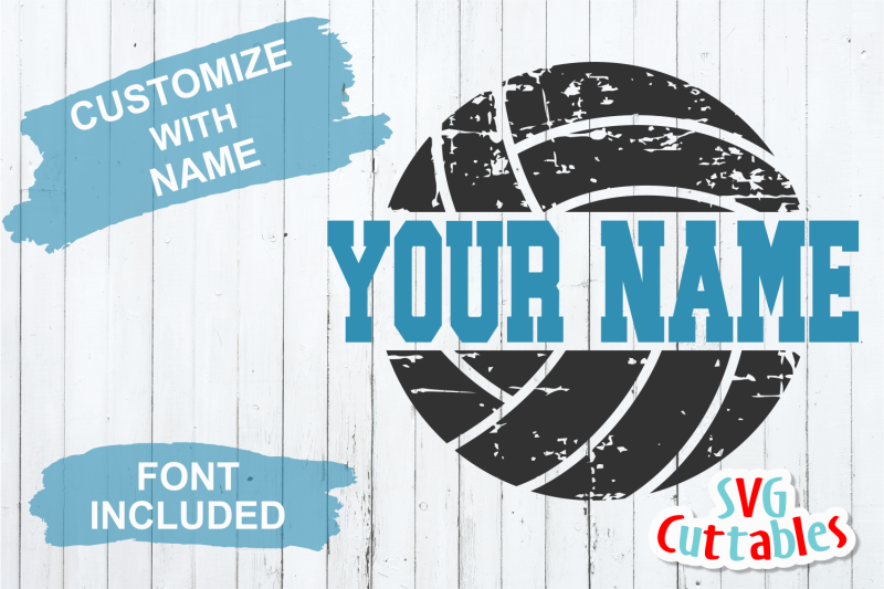 Distressed Split Volleyball Cut File By Svg Cuttables