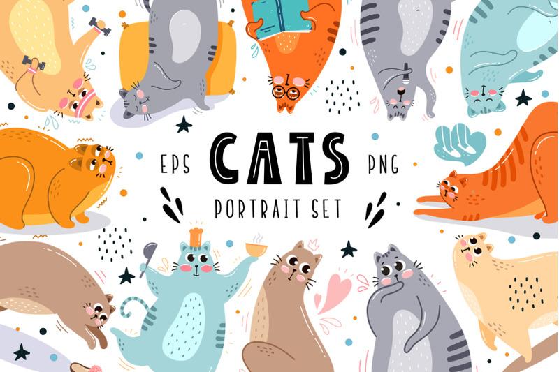 cats-portrait-set