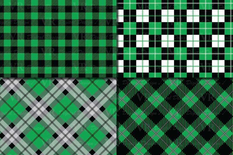 green-and-black-plaid-digital-papers-backgrounds
