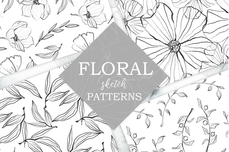 flower-and-leaves-sketch-patterns