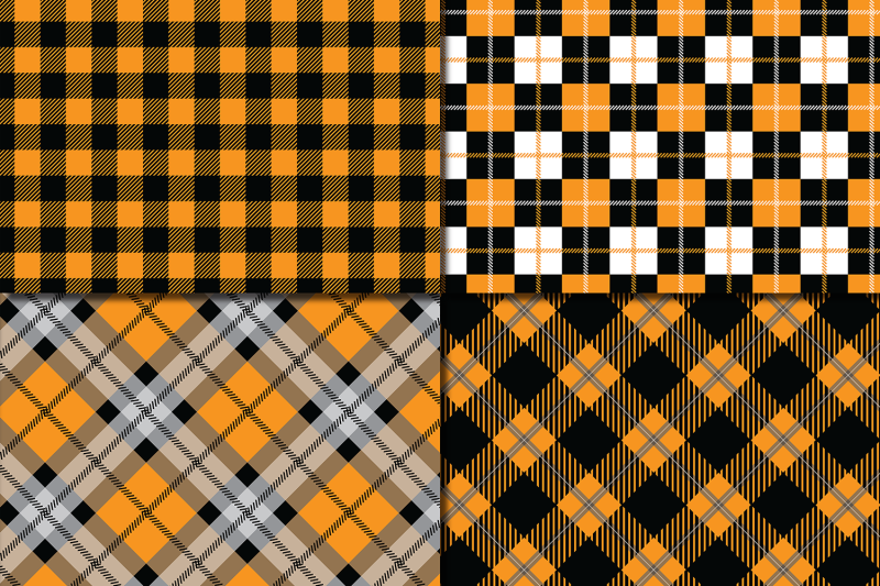orange-and-black-plaid-digital-papers-backgrounds
