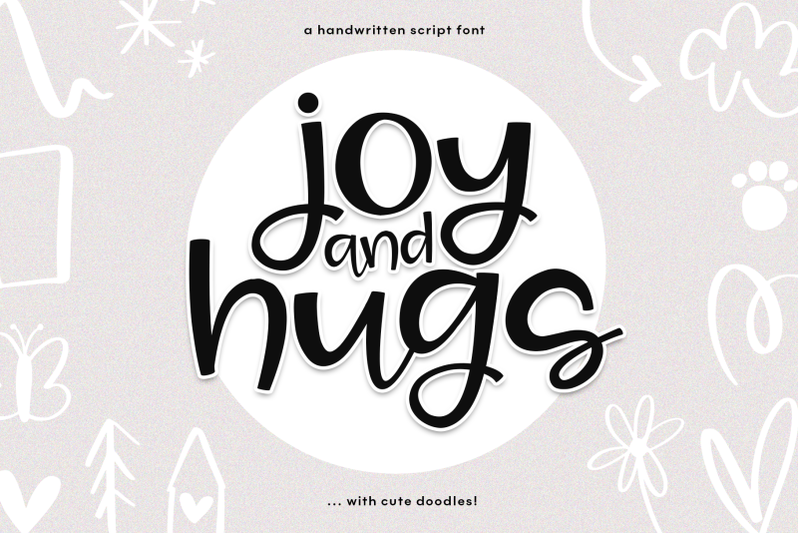 joy-amp-hugs-handwritten-script-font-amp-doodles