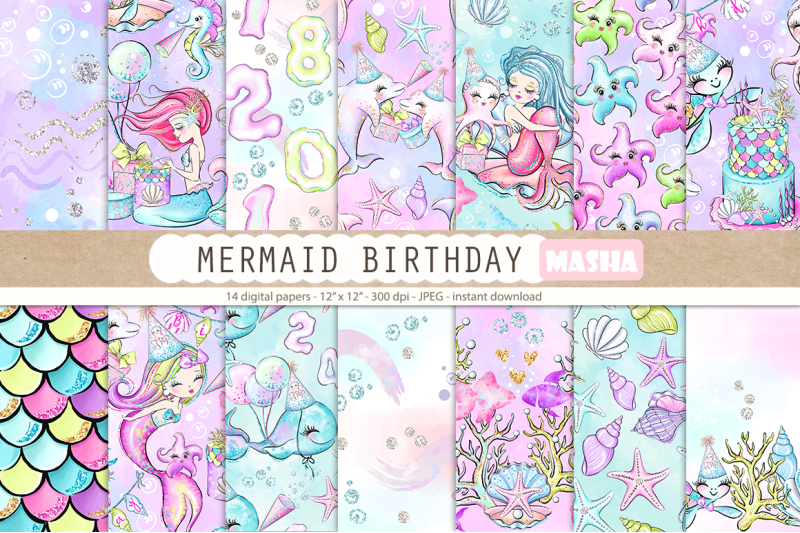 mermaid-birthday-digital-papers