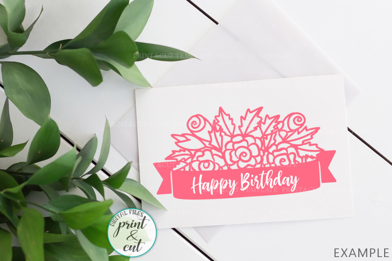 Flowers With Banner Hand Drawn Design Svg Dxf Paper Vinyl Cut Out