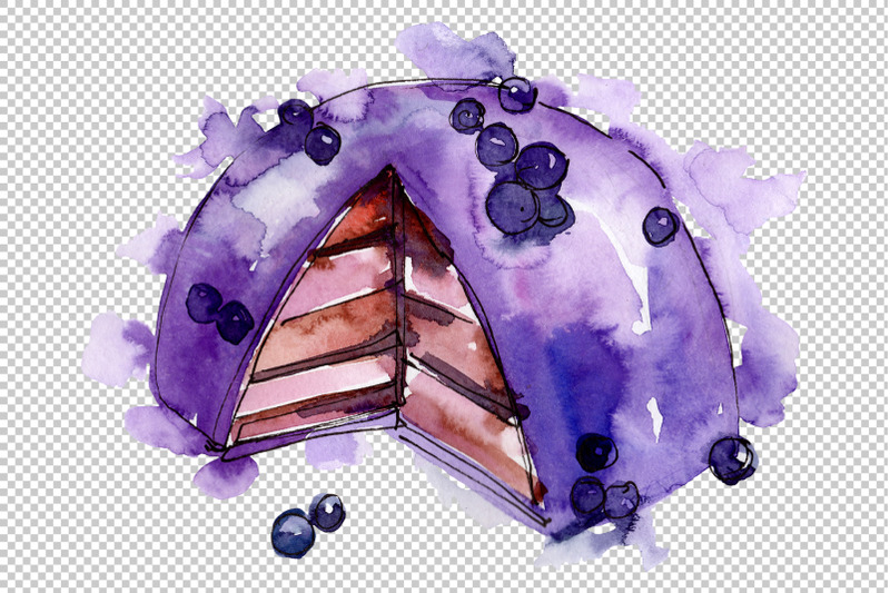dessert-with-blueberries-watercolor-png