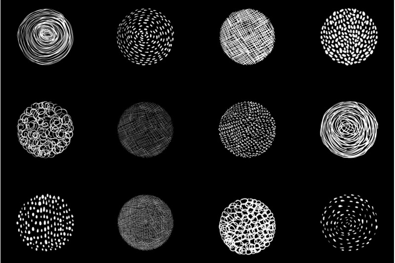 chalkboard-texture-circles-clipart-hand-drawn-white-round-doodle-shap