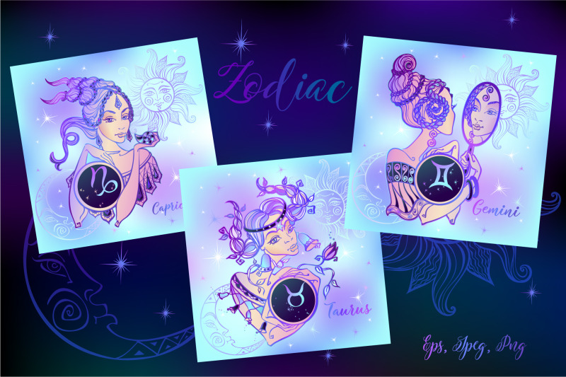 zodiac-neon-clip-art-collection