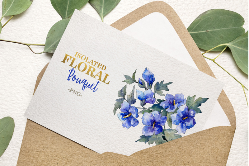 bouquet-with-blue-flowers-watercolor-png