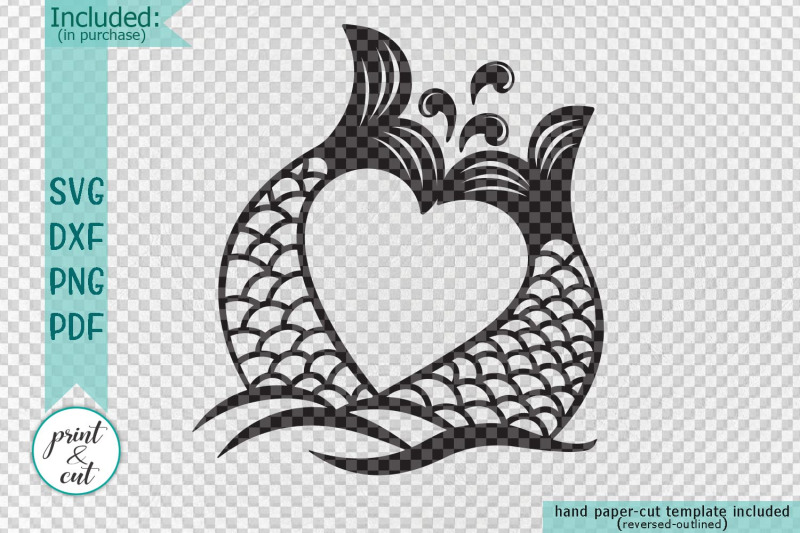 Couple Mermaid Tails Heart Shape Svg Dxf Cut Out Template By
