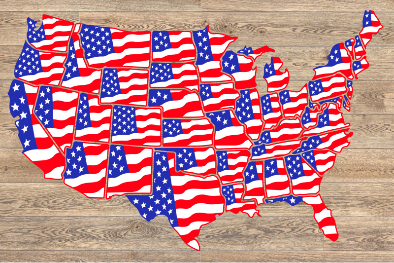 United States Flag Map Individual State Svg USA 50 america 1288S By ...