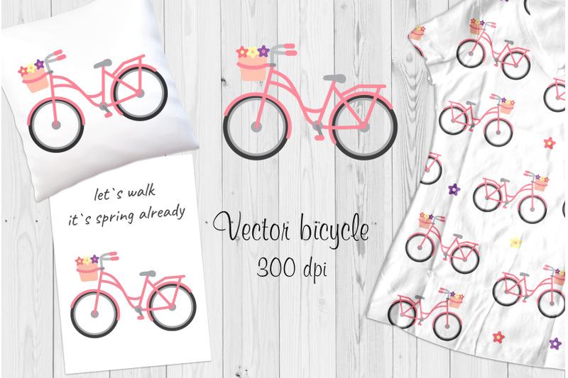 vector-pink-bicycle-postcard