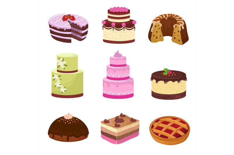 happy-birthday-party-cakes-with-decorations-isolated-on-white-cartoon