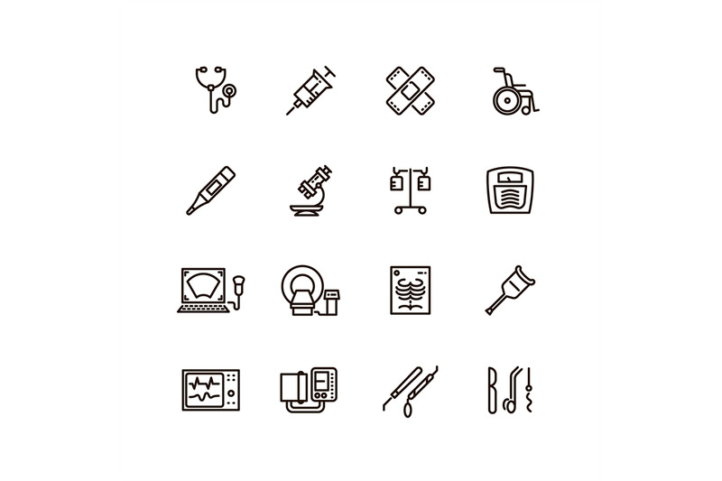 healthcare-medical-equipment-and-hospital-line-vector-icons