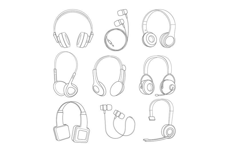 vector-mono-line-pictures-set-of-headphones
