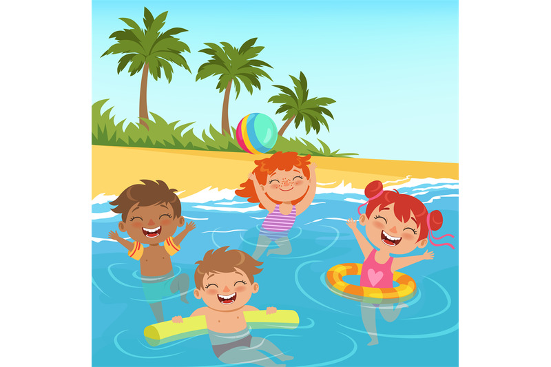 background-illustrations-of-happy-kids-in-pool