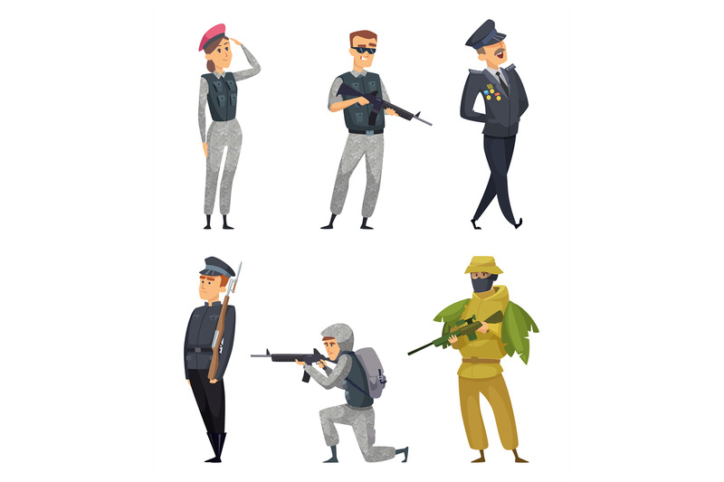 military-soldiers-with-various-weapons-vector-characters