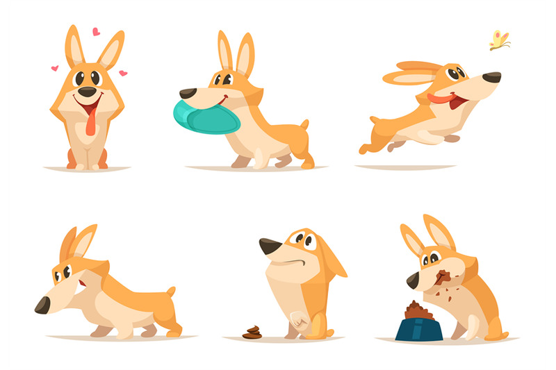 various-illustrations-of-funny-little-dog-in-action-poses