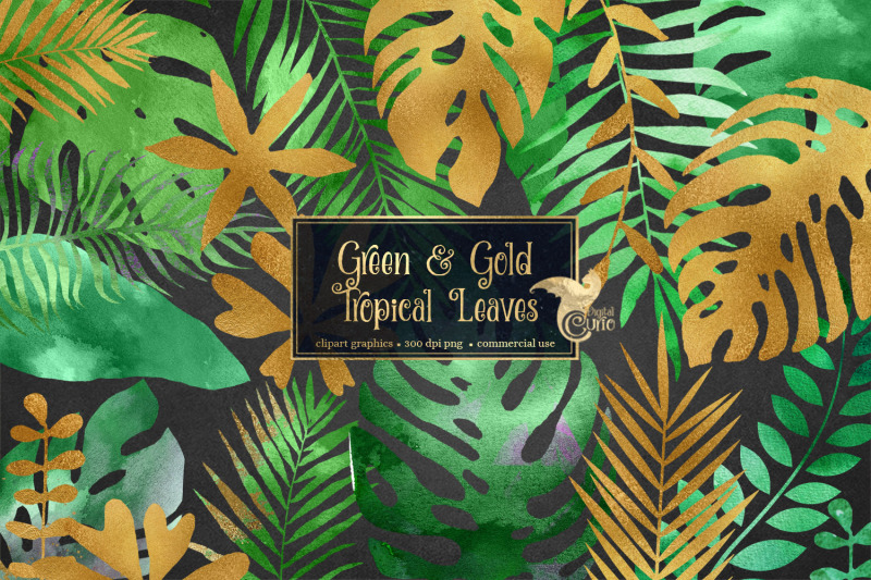 green-and-gold-tropical-leaves
