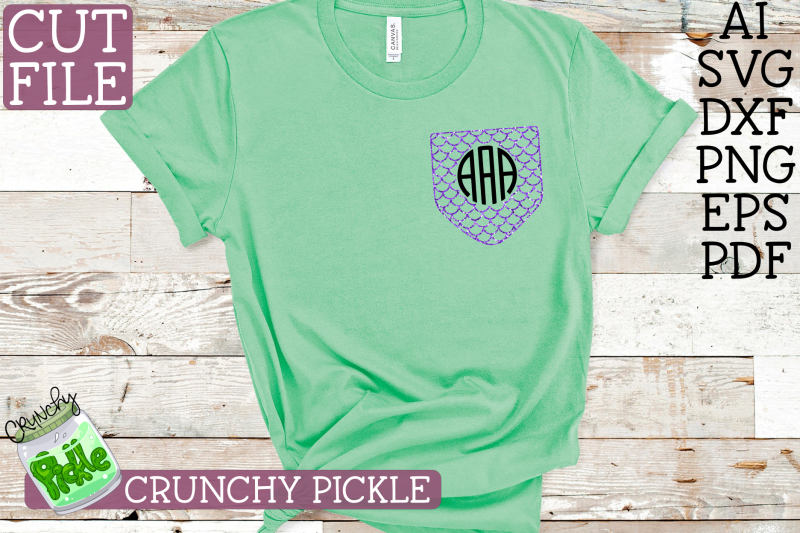 Pickle Pockets Monogram Pocket Mermaid Scales Svg By Crunchy
