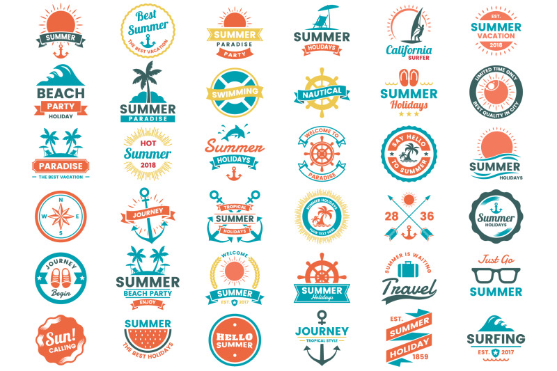 summer-badge-amp-objects-vector-set