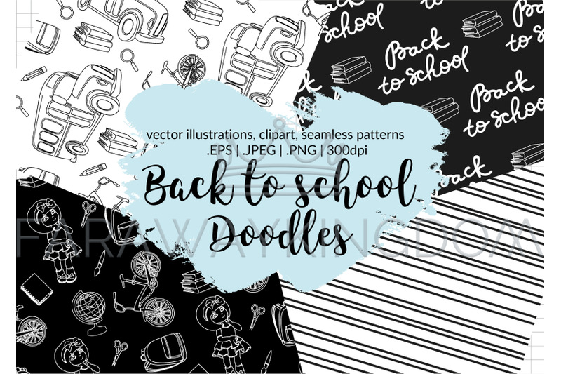 back-to-school-doodles-vector-illustration-seamless-pattern-set