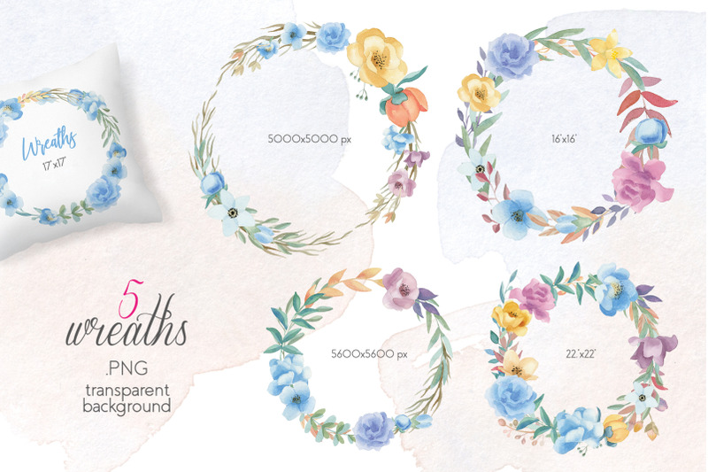 blooming-summer-watercolor-floral-elements-set-clipart