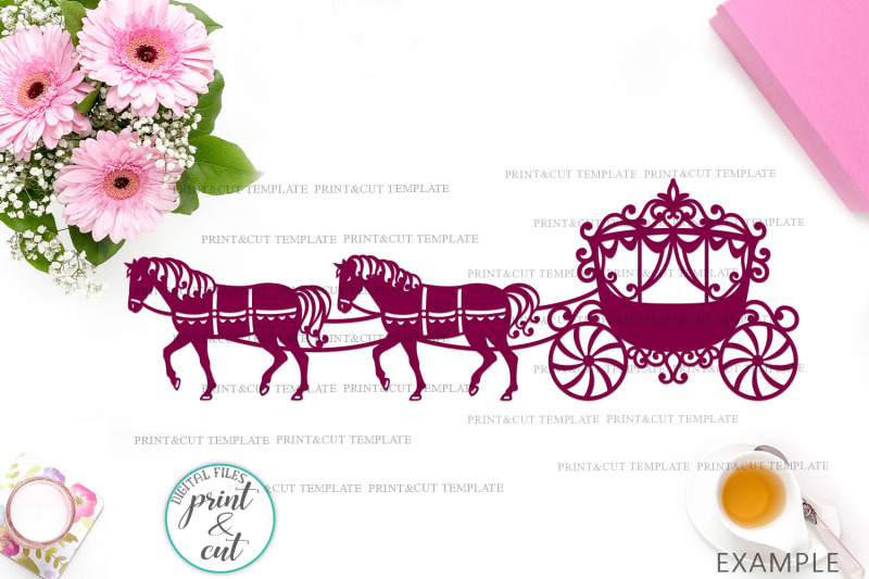 Horses Carriage Svg Pdf Cut Out Laser Cut Paper Cut Template By