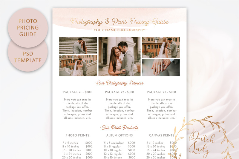 PSD Photography Pricing Guide Template #7 By The Dutch Lady