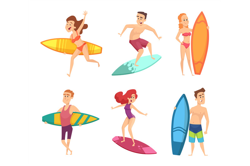 summer-surf-characters-vector-funny-mascots-in-various-action-poses