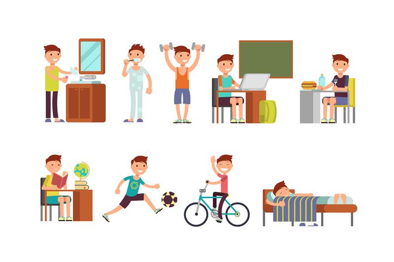 child-boy-daily-routine-vector-set