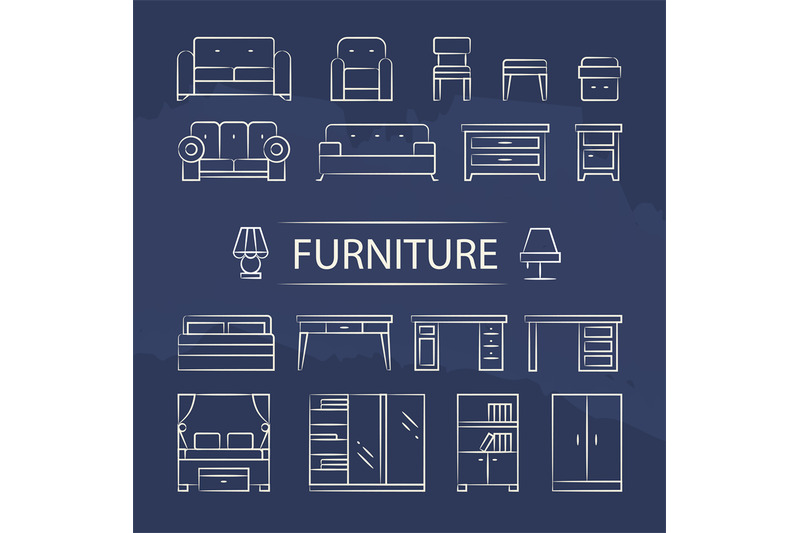 living-room-furniture-and-table-lamps-line-icons-set