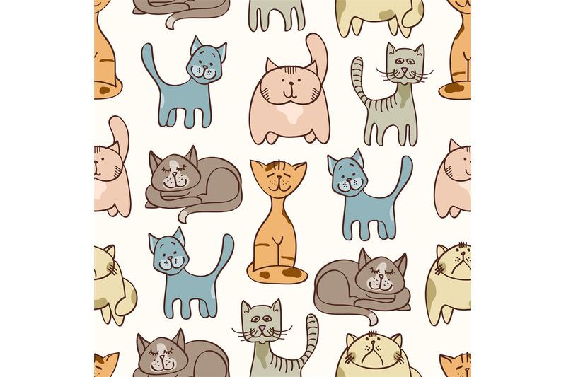 hand-drawn-cute-cats-seamless-pattern-pets-seamless-background