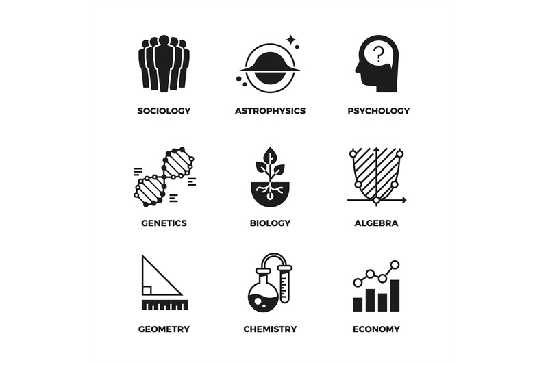 science-vector-icons-set-genetics-and-economy-algebra-and-chemistry