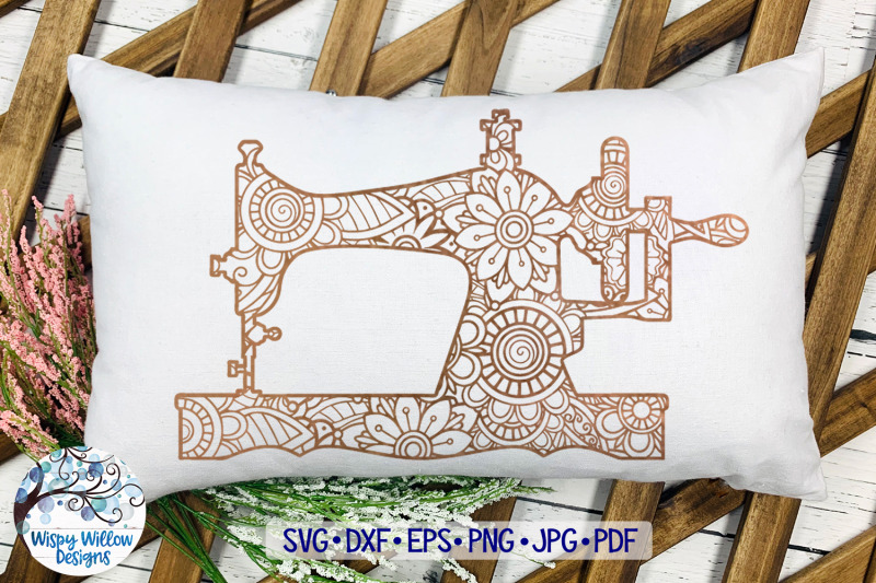 Sewing Machine Mandala Zentangle Svg By Wispy Willow Designs