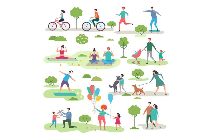 various-outdoor-activities-in-the-urban-park-group-of-walking-peoples