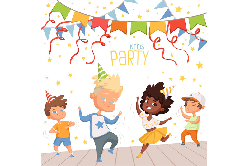 background-illustrations-at-childrens-dance-party-template-of-poster