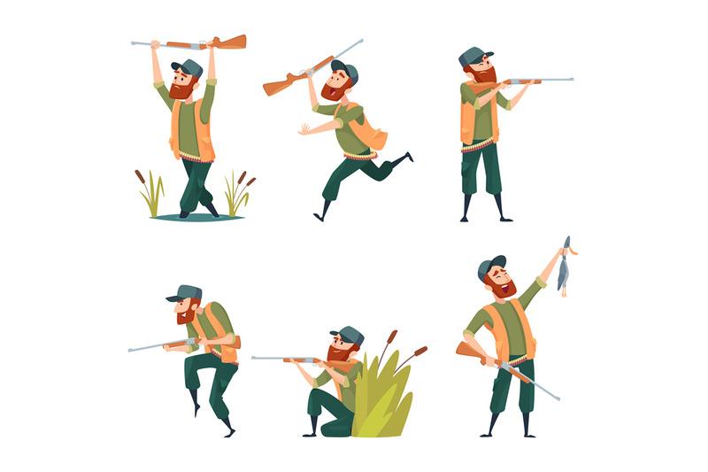 characters-of-hunters-vector-cartoon-illustrations-of-various-hunter