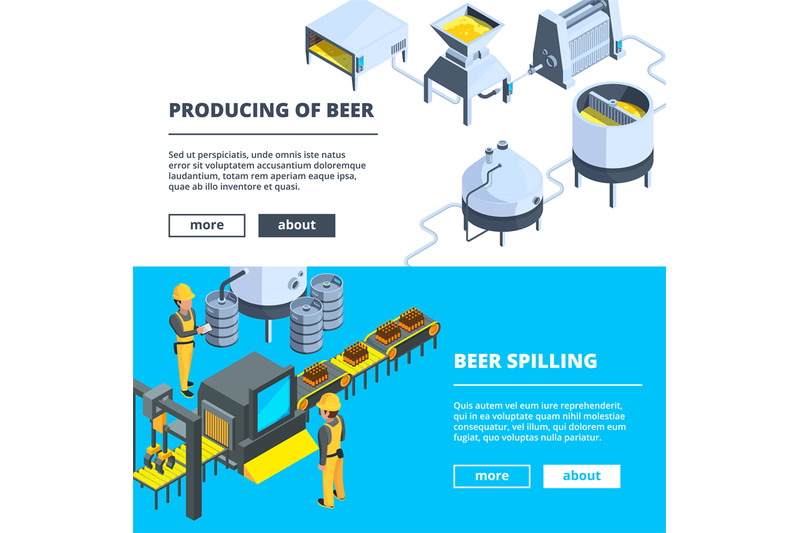 brewery-banners-vector-isometric-illustrations-of-beer-production