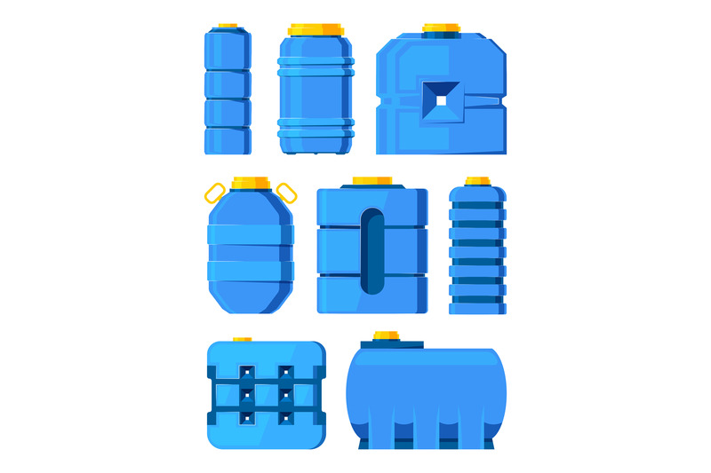 water-barrels-different-water-tanks-isolated-on-white