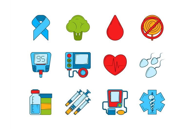 diabetic-medical-symbols-insulin-syringe-and-other-medical-icons-set