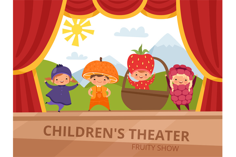 children-on-stage-kids-in-fruit-costumes-perform-at-school-party
