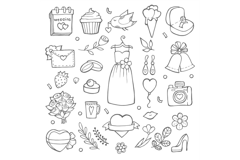 wedding-day-icons-various-pictures-of-brides-and-wedding-tools