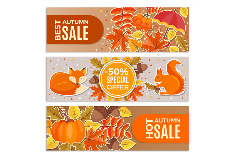 banners-of-autumn-sales-autumn-leaves-squirrel-fox-and-acorns-vecto