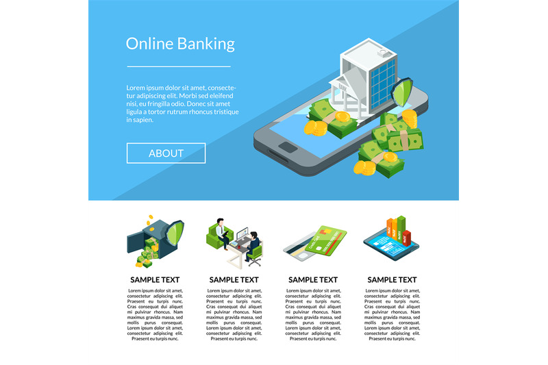 vector-isometric-money-flow-in-bank-icons-landing-page-template-illust