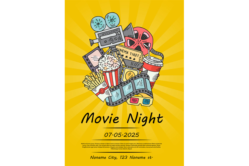 vector-cinema-doodle-icons-poster-for-movie-night-or-festival-on-sunra
