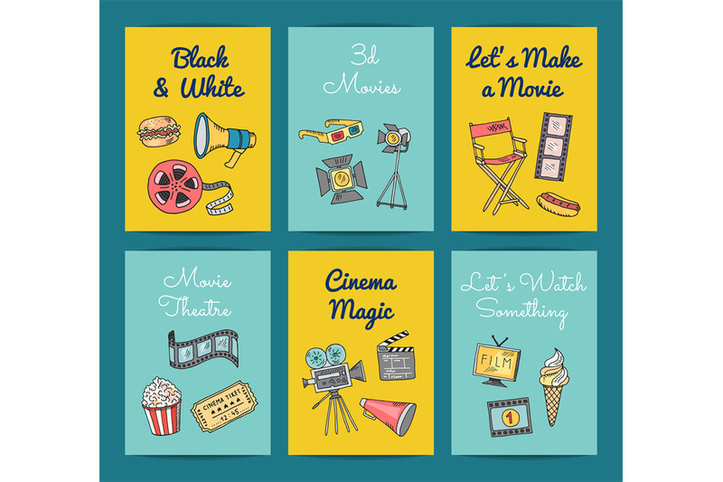 vector-cinema-icons-card-templates-set-illustration