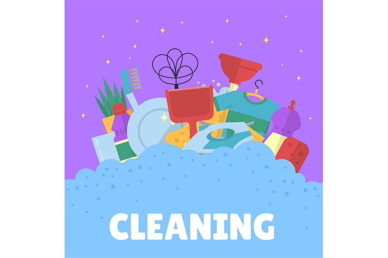 vector-cleaning-flat-icons-with-bubbles