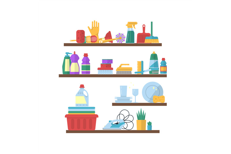 vector-cleaning-flat-elements-on-shelves-illustration